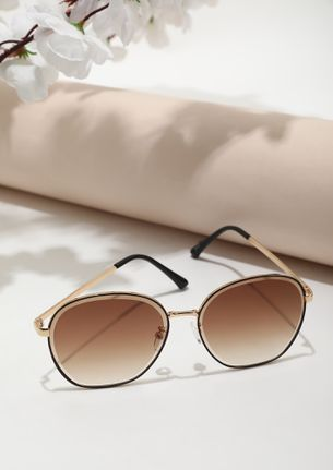LARGER THAN LIFE GOLD BROWN ROUND SUNGLASSES