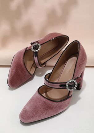 ON THE DROP OF A HAT PINK BLOCK HEELS