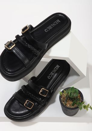 BRAIDS AND BUCKLES BLACK FLAT SANDALS
