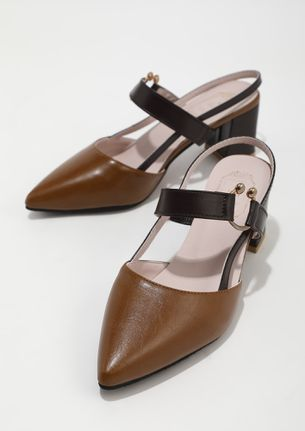 OFFICIAL WORK BROWN HEELED SANDALS