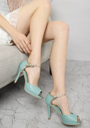 ALL BY MYSELF BLUE AND GOLDEN PEEP TOE SANDALS