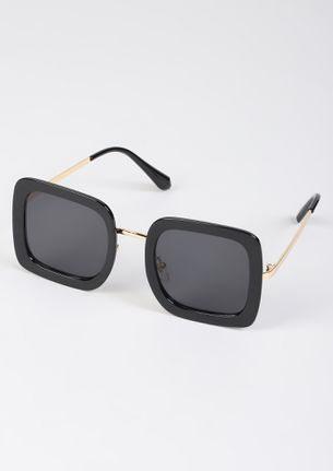 HOW FAR WILL YOU FOR PR-INT BLACK SQUARE FRAME SUNGLASSES