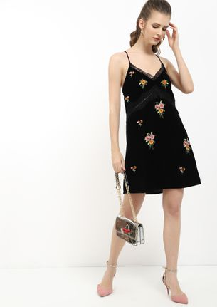FLORAL SQUARE ME BABY BLACK TUNIC DRESS