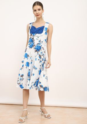 FLOWER ABOVE YOU BLUE SKATER DRESS