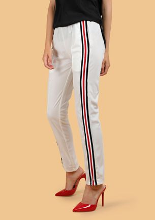 TOWARDS THE SIDES WHITE TRACK TROUSERS