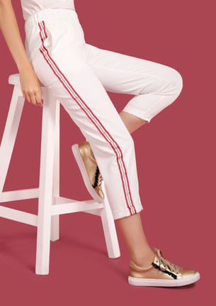 BE BY MY SIDE WHITE TRACK TROUSERS