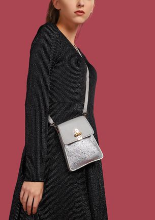 PEARLS AND GLITTERS SILVER POUCH BAG