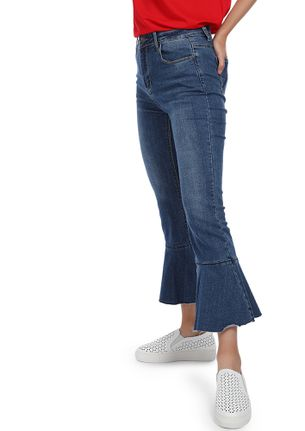 NEVER MIND MY FLARE BLUE CROPPED JEANS