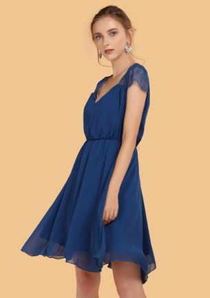PERFECTLY MESHED BLUE SKATER DRESS