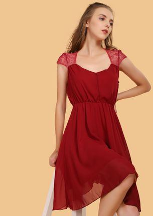 PERFECTLY MESHED MAROON SKATER DRESS