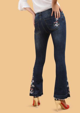 TALE OF A FLORAL TRAIL BLUE BOOTCUT JEANS