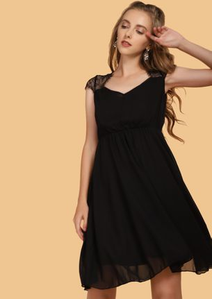 PERFECTLY MESHED BLACK SKATER DRESS