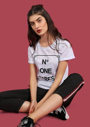 WHAT IF NO ONE CARES WHITE T-SHIRT