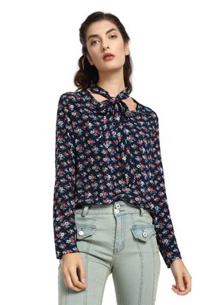 ETHEREAL ROMANCE BLUE PUSSY-BOW BLOUSE