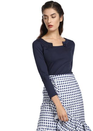 BUTTON ME DOWN NAVY TOP