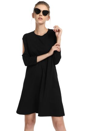 SUMMER MOOD ON BLACK SHIFT DRESS
