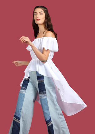 SWEET FINISH WHITE ASYMMETRIC OFF-SHOULDER TOP