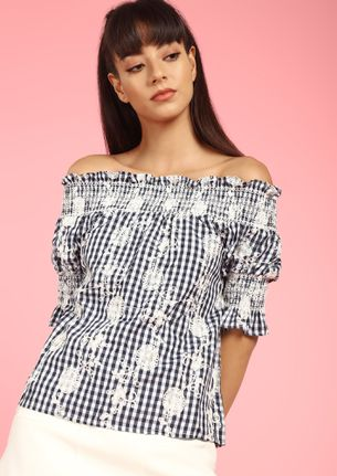 ON A CHECK GAME NAVY OFF-SHOULDER TOP