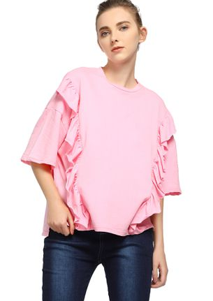RUFFLE IN A BLISS PINK T-SHIRT