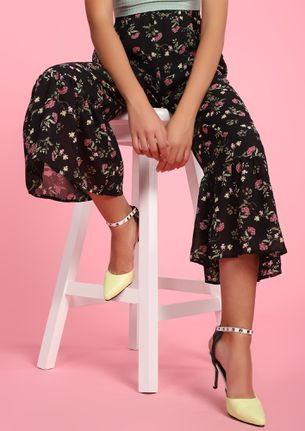 FOR THE LOVE OF FLORALS BLACK CULOTTES