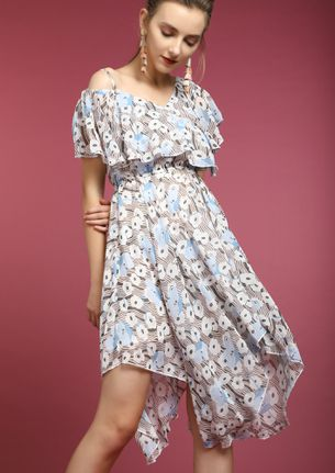 FLOWER SUNDAY MULTICOLOR ASYMMETRICAL DRESS