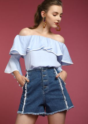 WANNA BE SUNKISSED BLUE OFF-SHOULDER TOPS