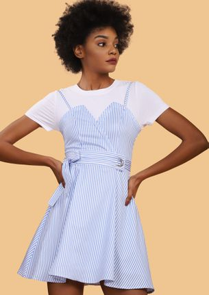 PLAYFUL VIBES ALL DAY BLUE SKATER DRESS