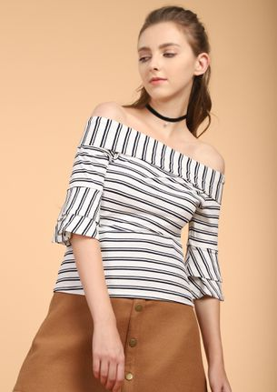 ALL FOR THOSE STRIPES WHITE OFF-SHOULDER TOP