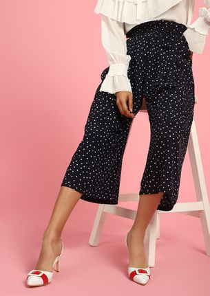 JUST A BUNDLE OF DOTS NAVY PAPERBAG CULOTTES