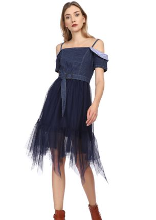 TULLE ROMANCE BLUE DENIM DRESS