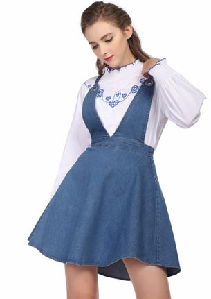 READY TO ROLL BLUE DENIM PINAFORE DRESS