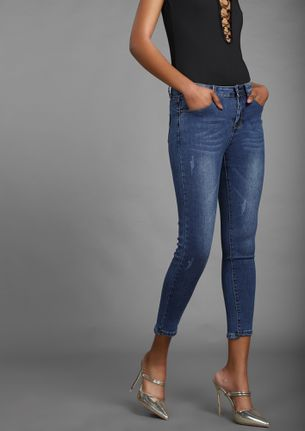 Stepping Stones Dark Blue Cropped Jeans