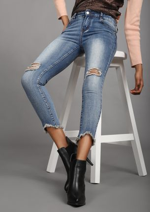 REAP THOSE RIPS LIGHT BLUE CROPPED SKINNY JEANS