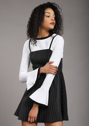 STANDING ON A LINE BLACK PINAFORE DRESS