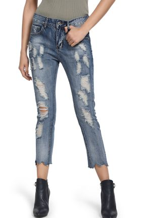 DRAWING ATTENTIONS BLUE RIPPED CROP JEANS