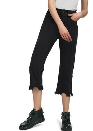ONE FRAY AWAY BLACK CROPPED JEANS