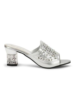 MIX AND MINGLE SILVER HEELED SANDALS