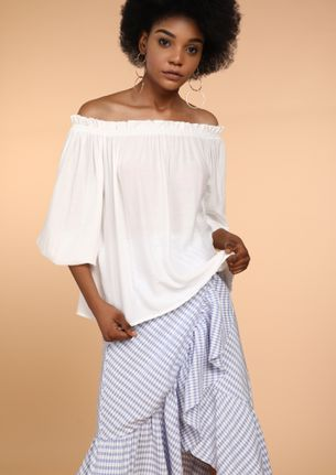 CATCH THE SUNLIGHT WHITE OFF-SHOULDER TOP