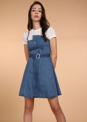 ONE KNOT DOWN BLUE PINAFORE DRESS