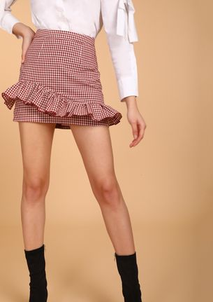 INTO THE SKATE-CULTURE RED MINI SKIRT