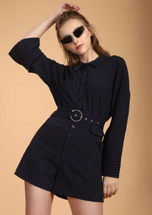 STRIPE DOWN TO IT  NAVY ROMPER -STRIPE