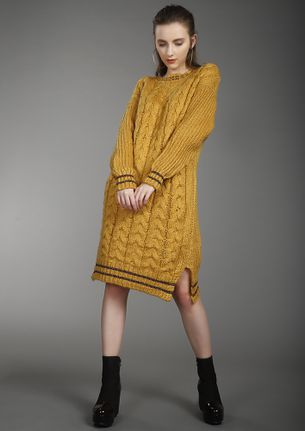 WINTER GAME RULES YELLOW KNIT DRESS