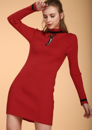 ONE ROSE ONE LOVE RED TUNIC DRESS
