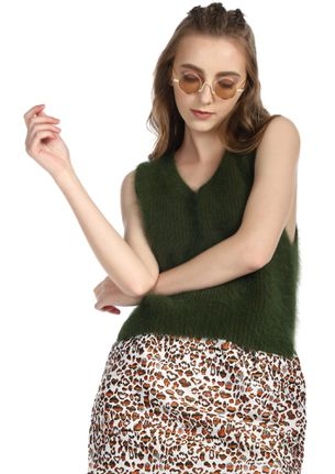 PLAY IT COOL OLIVE GREEN VEST TOP