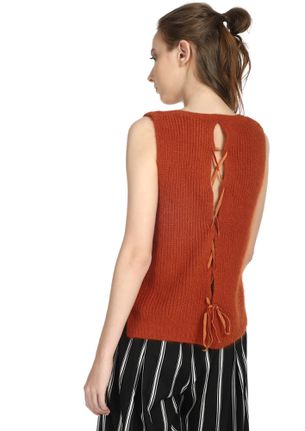 Play It Cool Brick Red Vest Top