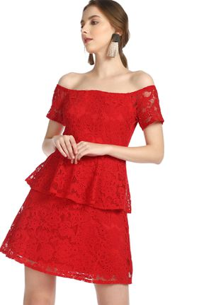 MESH PERFECTION RED OFF-SHOULDER DRESS