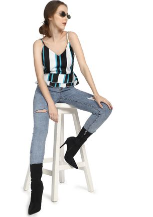 Let's Move On Stripes Blue Cami Top
