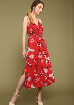 WELCOME TO FLOWER VALLEY RED MIDI DRESS