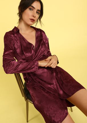 AFTER HOURS BURGUNDY WRAP DRESS