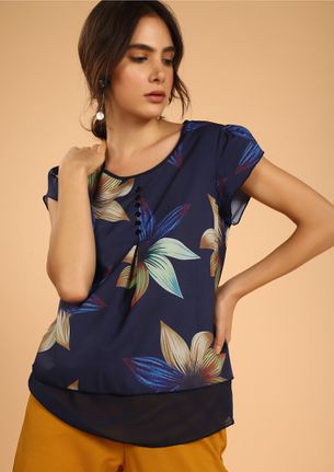 Be You Floral Navy Top